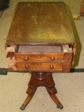 Badly Damaged Victorian Mahogany Worktable with Missing and Damaged Veneers and Broken Top